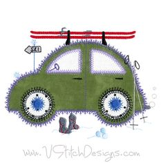 Ski time! Cute Car 5 machine embroidery applique design. Use with the AccuQuilt GO! Cute Car die (55354) or just applique as usual. Happy stitching! See V-Stitch on AccuQuilt, too. www.VStitchDesigns.com