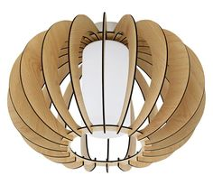 Ceiling Light w/ Maple Wood Finish & White Glass in Table Lamps, style - Contemporary, by Eglo, finish - Brown, family - Stellato Ceiling Lamp, Ceiling Lights, Wooden Slats, Leaded Glass, Light Fittings, One Light, Hanging Lights, Modern Lighting, Pendant Lighting