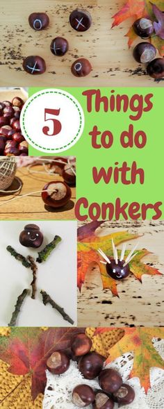 5 things to do with conkers! Fun things to do with kids in a forest or the best ideas for nature crafts. Nature activities for kids to do with conkers or horse chestnuts. Forest School Activities, Autumn Activities For Kids, Fall Crafts For Kids, Crafts To Do, Fun Activities, Easy Crafts, Arts And Crafts, Kids Crafts, Seasons Activities