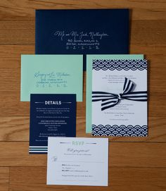 Mint and navy blue wedding invitations-use pink instead of mint