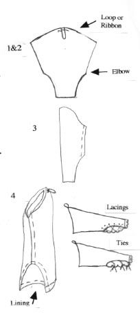 Italian Renaissance: Detachable Sleeves Guide.(This shape sleeve, but sewn together without lacing is one I've also seen in 14th century manuscripts - tight half way up forearm and then billowy to shoulder.)