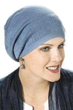 soft hats for cancer patients - serendipity slouchy cap in denim Chemo  Beanies 3ae2d01303e5