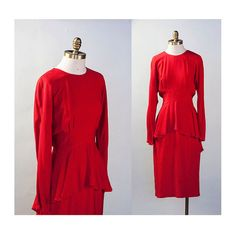 // Stunning lipstick 1980s does 1940s red rayon crepe peplum dress with long dolman sleeves.  // Made in the 1980s in the USA; 54% rayon, 46%