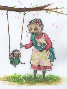 "Kartenset  3mal "" Mama Igel"" von Tizia Hula auf DaWanda.com Hula, Princess Zelda, Etsy, Illustration, Fictional Characters, Hedgehog, Heroes, Cards, Illustrations"