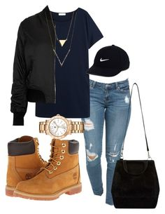 """falls"" by rabiamiah on Polyvore featuring Equipment, Topshop, Timberland, Tommy Hilfiger and NIKE"
