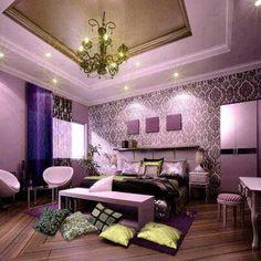 Lilac damask bedroom theme