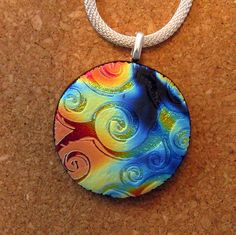 Dichroic Rainbow Pendant - Dichroic Jewelry - Fused Glass Pendant - Fused Glass Jewelry - Round Dichroic Pendant by GlassMystique on Etsy