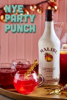 Malibu's NYE Party Punch! 1.5 parts Malibu 2 parts cranberry juice 1 part pomegranate juice .5 part lemon 2 parts ginger beer. Glass: punch bowl or stemless wine glass. Method: combine ingredients. Garnish: pomegranate seeds