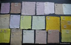 Homemade natural fabric dyes by Sania Pell, using food. Some of them came out surprisingly pale!