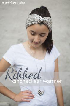 Ribbed Cinched Ear Warmer  |  Free Ear Warmer Headband Crochet Pattern by Little Monkeys Crochet