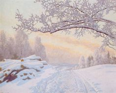 Sun over snowy landscape by Gustaf Fjaestad
