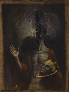 Assumption of the first-born of wise blood, acrylics and gilding on antique papyrus mounted on masonite x 42 cm). 2016 David S Herrerias Dark Art Paintings, Dark Artwork, Fantasy Paintings, Death Aesthetic, Aesthetic Eyes, Arte Horror, Horror Art, Baphomet, Les Fables