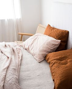 Ochre, Blush and Soft Grey Stripes are one of our favourite unexpected linen combinations. What do you style your Ochre linen with? Small Living Room Design, New Living Room, Interior Design Living Room, Living Room Designs, Cozy Bedroom, Modern Bedroom, Bedroom Decor, Master Bedroom, Bedroom Ideas