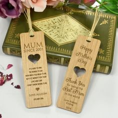 Engraved Wooden Mother's Day Bookmark