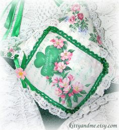 St Patricks Day Hanging Pillow Shamrocks by Kittyandme on Etsy, $20.00