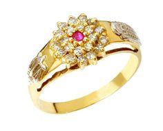 Anel de formatura biomédica em ouro 18k 750 com 21 diamantes de 1 ponto cada e 1 pedra rubi natural