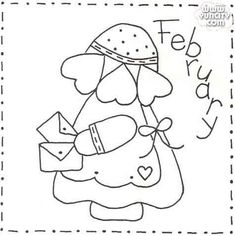 Hardanger Embroidery Patterns Sunbonnet Sue BOM - February Stitchery Pattern - Month by month stitchery pattern. Make a little calendar quilt, embellish a pillowcase, decorate a shirt or sew a fabric greeting card. Hardanger Embroidery, Paper Embroidery, Japanese Embroidery, Hand Embroidery Patterns, Quilt Patterns Free, Applique Patterns, Vintage Embroidery, Applique Quilts, Machine Embroidery