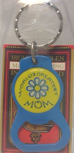 New Solid Metal BOTTLE OPENER Keychain~WORLD S GREATEST MOM ~Porte-Cle Neuf~ NWT