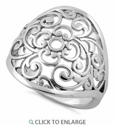 Top of ring height: Band width: Shank width: Metal: 925 sterling silver Plating: rhodium plated Finish: high polish Bali Jewelry, Jewelry Rings, Personalized Jewelry, Custom Jewelry, Dreamland Jewelry, Square Rings, Sterling Silver Filigree, Beautiful Rings, Brighton Jewelry