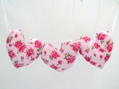 Fabric hanging heart decoration plush hearts by FingerPrickingGood