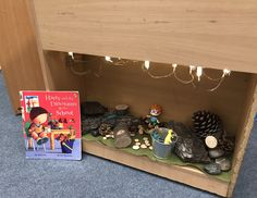 This space was blank and crying out for some creativity! Harry and the Bucketful of Dinosaurs story nook small world. Dinosaur Small World, Reading Corner Classroom, Dinosaurs, Nook, Crying, Creativity, Space, Floor Space, Nooks