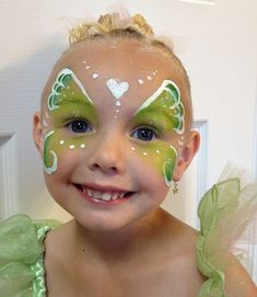 Tinkerbell Fairy Halloween makeup and face paint