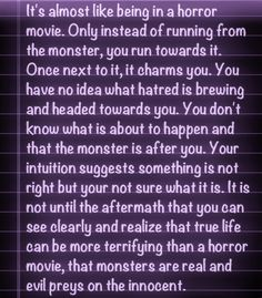 Monsters...they are real...and they have enablers...women who wait years and years for more of the same...
