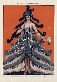 La Vie Parisienne illustration, December 1925 by Vald'es  I think I'll try to introduce this idea for today's tree decorating…