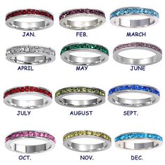 Stackable birthstone rings for when I have children, names and birthdays engraved on each one.