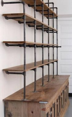 Industrial decor kitchen - The Hemingway Wall Mount Bookcase Reclaimed Wood Bookshelf Pipe Wall Bookshelf Shelf Built In Industrial Shelving Store Display – Industrial decor kitchen