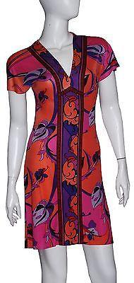 Hale Bob Dress Sz X  Small NWT Coral Multicolor 100% Silk Cap Sleeves V-neck