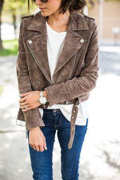 Denim skinnies, nude heels, white tee and my new favorite brown suede moto jacket