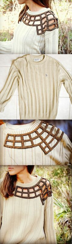 DIY.. sew the edges of an embellishment straight onto your sweater, turn it inside out and cut out the foreground!! vuala a one of a kind...