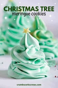 Christmas Tree Meringues - brenda - Christmas Tree Meringues Add a touch of festive magic to your holiday dessert table with these super cute and simple Christmas Tree Meringue Cookies. light, airy, a little bit chewy with a sprinkle of sparkle! Cookie Recipes For Kids, Easy Christmas Cookie Recipes, Christmas Food Gifts, Christmas Cookie Exchange, Holiday Cookies, Christmas Desserts, Christmas Baking, Simple Christmas, Christmas Parties