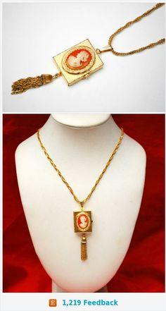 Vintage Locket- Cameo Necklace - Victorian Revival - Resin Cameo - gold four photo locket https://www.etsy.com/serendipitytreasure/listing/540903907/vintage-locket-cameo-necklace-victorian?ref=listing_published_alert