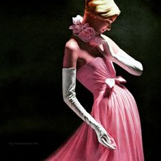 Sunny Harnett wearing a gown by Arnold Scaasi 1957