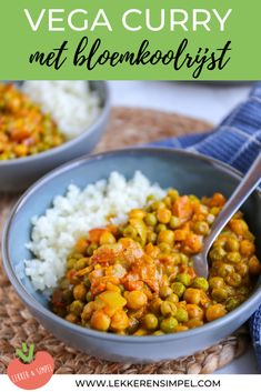 Vegetarian curry with cauliflower rice - Delicious and Simple Vegetarian Appetizers, Vegetarian Recipes, Healthy Recipes, Diner Recipes, Lunch Recipes, Vegetarian Main Course, Vegetarian Curry, Indian Food Recipes, Food Inspiration