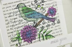 http://dawnmcvey.typepad.com/these_are_a_few_of_my_fav/hero-arts/#  Hero Arts stamp set...stamped on a book page, colored with (Copic) markers.