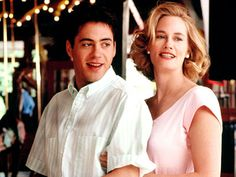 "Robert Downey, Jr. and Cybil Sheperd in ""Chances Are"""