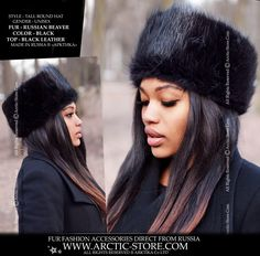 Another Arktika® exclusive design. Sophisticated round tall hat with black leather top. Unisex style hat rests a little bit higher on the wearer's head for a tall appearance. Extra warm hat is made of superior quality, soft Canadian Beaver fur and natural leather. Lining is 100% twill with hidden black wool felt flap to keep your ears warm. This hat is adjustable using a special silk band, hidden inside the hat lining, which allows you to decrease the size by 2 - 3 cm.