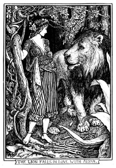The Lion Falls in Love with Aissa by Henry Justice Ford on Curiator, the world's biggest collaborative art collection. Lion Illustration, Art Nouveau Illustration, Fantasy Illustration, Walter Crane, Edmund Dulac, Ex Libris, Lion Images, Tinta China, Digital Museum