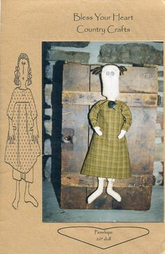 """FREE US SHIP Bless Your Heart Country Crafts 20"""" Doll Penelope Primitive Folk Art Uncut New Old Store Stock Sewing Pattern Ragdoll cloth by LanetzLivingPatterns on Etsy"""