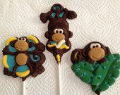 24 BOY Mod Monkey Chocolate Lollipop Party Favors -  BIRTHDAY or Baby Shower