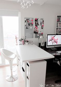 White, gray, and touches of pink for home office. Love it...Could easily recreate with ikea