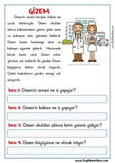 OKUMA ANLAMA METNİ – GİZEM - Seyit Ahmet Uzun – Eğitime Yeni Bir Bakış Turkish Lessons, Learn Turkish, Turkish Language, Reading Passages, Grade 1, Preschool, Drama, Student, Science