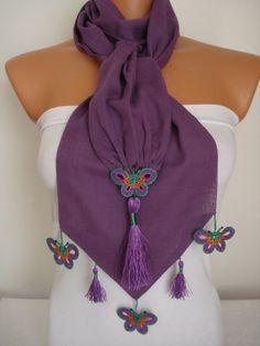 Butterfly Scarf-Anatolian Oya Scarf Hand Crocheted Lace Scarf