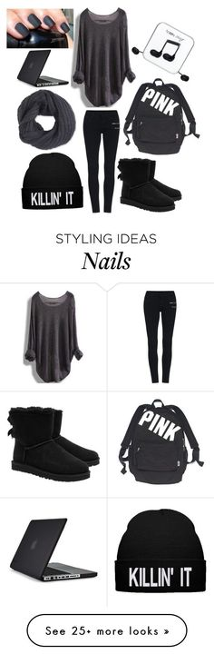 """""""School why you hate me????"""" by musicmelody1 on Polyvore featuring UGG Australia, Victoria's Secret, Happy Plugs, Frenchi and Speck"""