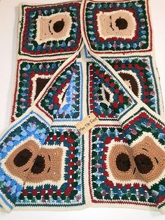 60s 70s Vintage Multicolored Afghan Crochet Knit Runner Blanket 60s 70s Vintage Multicolored Afghan Crochet Knit Runner-Crochet Teddy Bears- Granny Square Afghan Blanket Colorful Warm Wrap Handmade Crochet Patchwork Cozy Bed Cover  With its bright squares this warm blanket provides comfort for the cool nights of spring and summer and adds color to any interior. Colorful teddy bear afghan. Handmade, crocheted afghan. Would make a wonderful gift for that special kid! This is a beautiful…