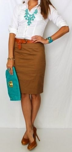 Simple decent work outfits with pencil skirt and white shirt