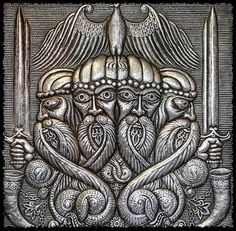 Four Headed God Svetovid - Svetovid is the Slavic god of war, fertility and abundance. He is four-headed war god. Svetovid's four heads stand for the four sides of the world that this all-seeing god is looking at. His attributes are a sword, a bridle, a s Russian Mythology, Norse Mythology, Vikings, Eslava, Viking Life, Head Stand, Ex Machina, God Of War, Gods And Goddesses